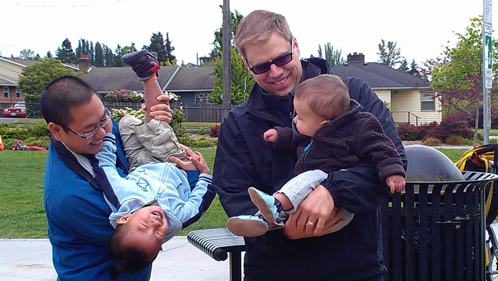 Joe from Retireby40.org and Baby RB40 meet up with Pretired Nick and Pretired Baby at a Seattle park.