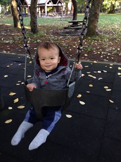 Pretired Baby doing a little swinging before the Seahawks game.