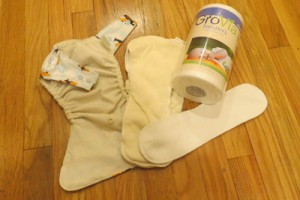 All the pieces for using reusable cloth diapers